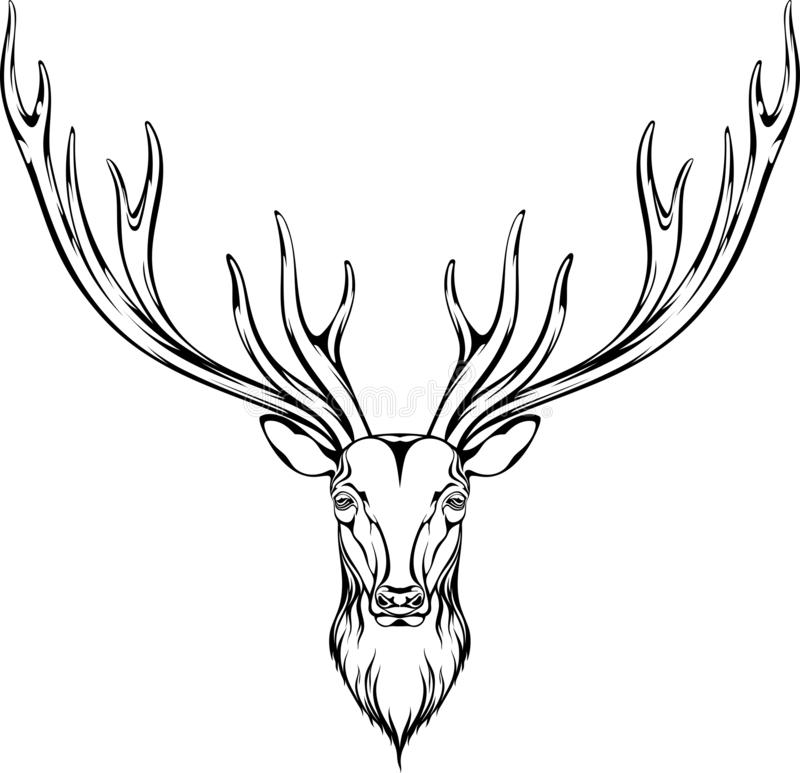 Image of a deer head with branchy horns. Can be used to create logos, tattoos and more vector illustration
