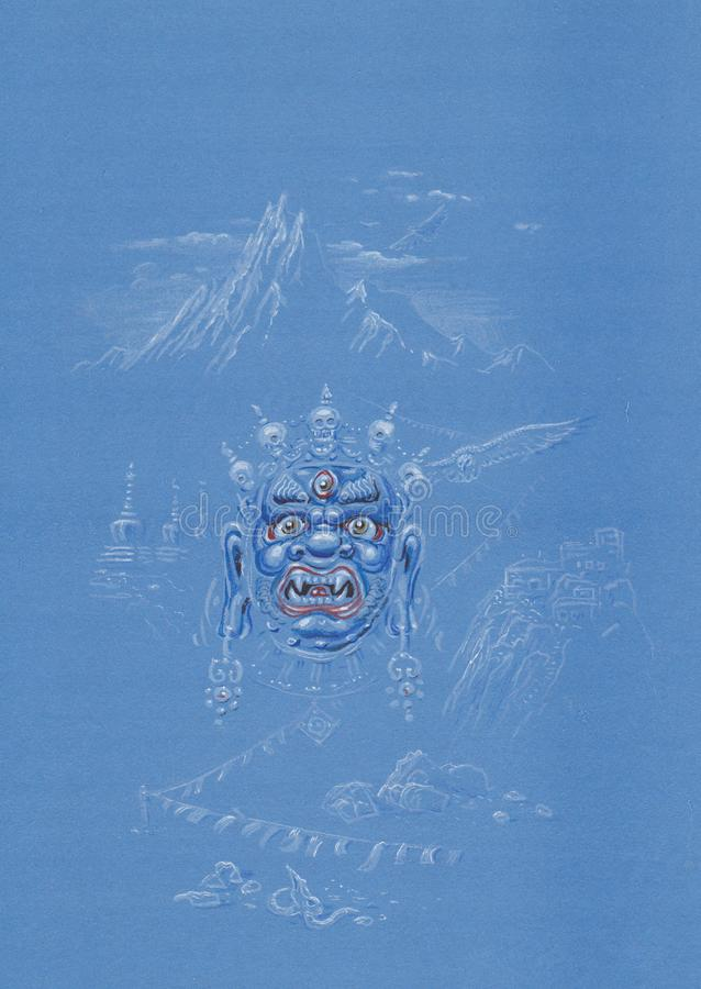 An image of a Demon. Handpainted Illustration of a demon in a Buddhist tradition stock image