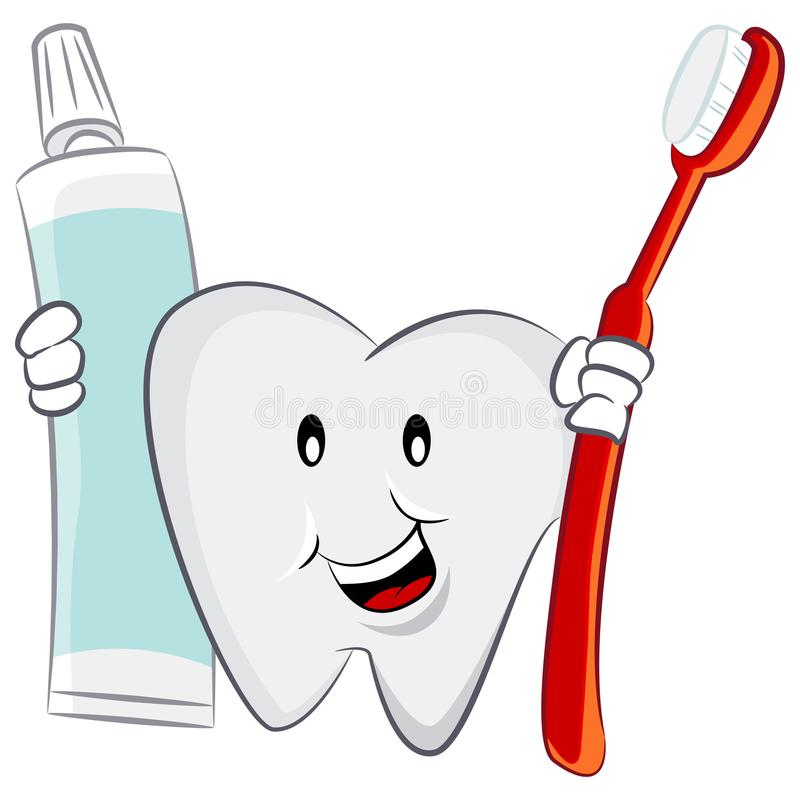 Dental Oral Hygiene Tooth Toothbrush Toothpaste Cartoon Character vector illustration