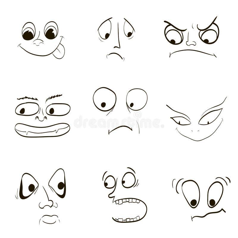 Image des émotions, crainte de la colère de la joie fâchée illustration de vecteur