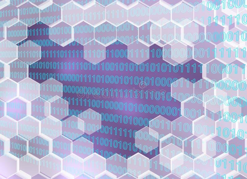 Image des hexagones transparents cassés par l'ère numérique illustration de vecteur