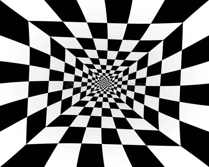 Abstract perspective of a tunnel. This image describes the abstract perspective of an infinite tunnel, with a distortion, composed of black and white weave stock illustration
