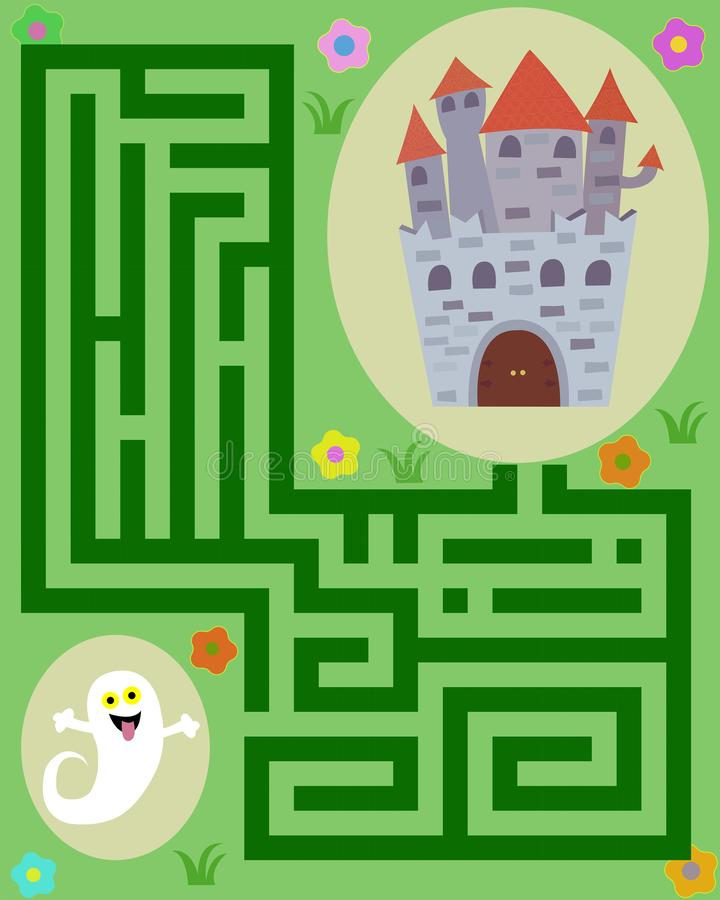 little ghost in the labyrinth to reach the castle royalty free stock image