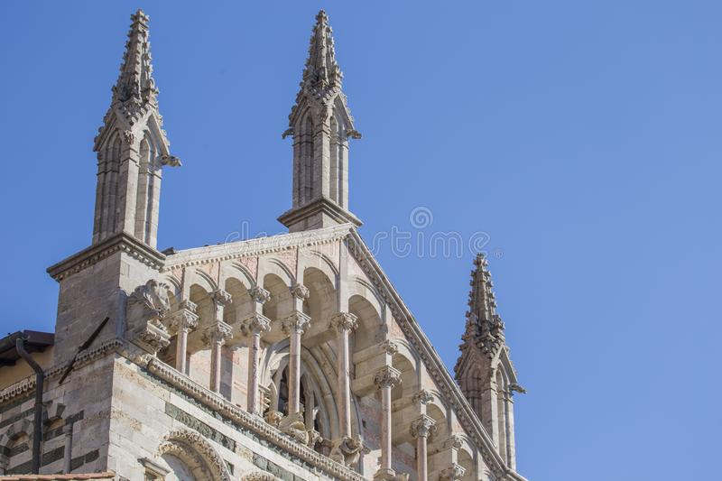 Image with detail of the gable of the Cathedral of San Cerbone i. N Marina Marittima Tuscany Italy royalty free stock photography