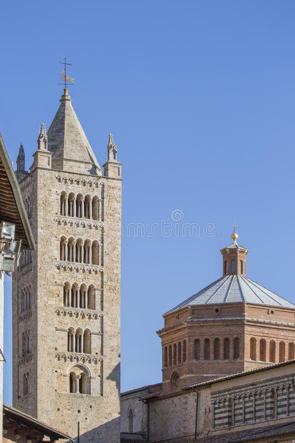 Image with detail of the tower of the Cathedral of San Cerbone. In Marina Marittima Tuscany Italy stock photo