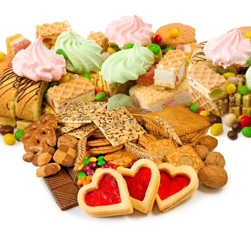 Image of different biscuits. Image of different cookies closeup stock photography