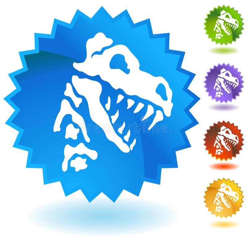 Dinosaur Fossil Bones Button Set. An image of a Dinosaur Fossil Bones Button isolated on white vector illustration