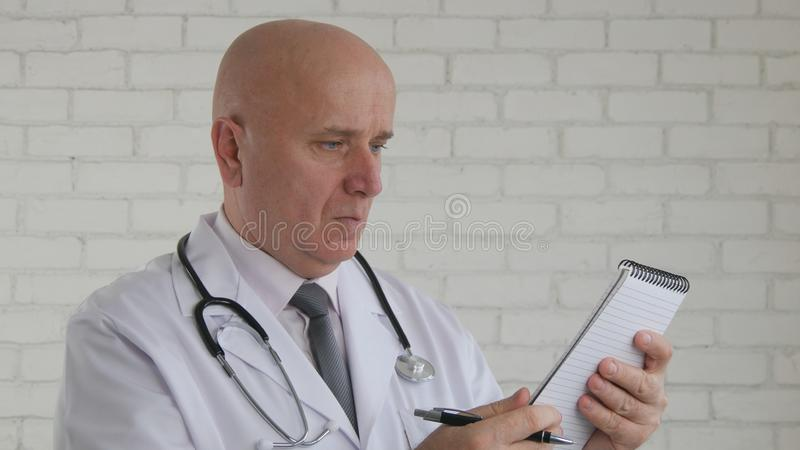 Doctor Image Write Medical Recipe Recommending Vitamins Cure stock photography