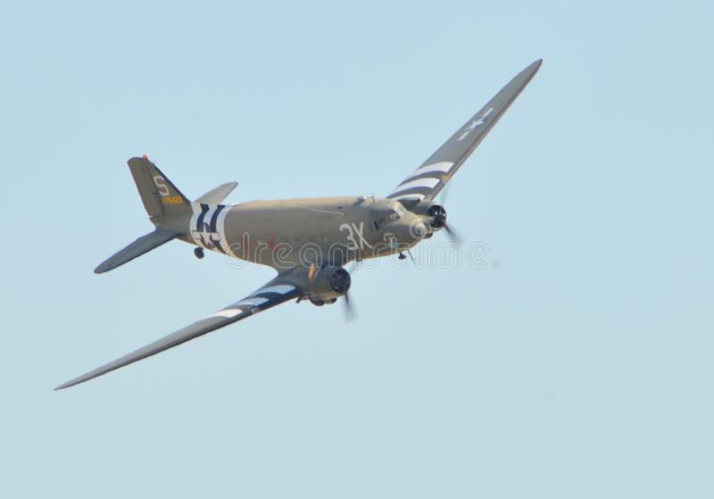 Douglas C-53D Skytrooper on a clear day. An image of a Douglas C-53D Skytrooper on flight on a clear day stock image