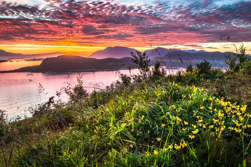 Dramatic Sunrise in Alesund. Image of dramatic sunrise taken from Mount Aksla Viewpoint in Alesund, More og Romsdal County, Norway royalty free stock photo