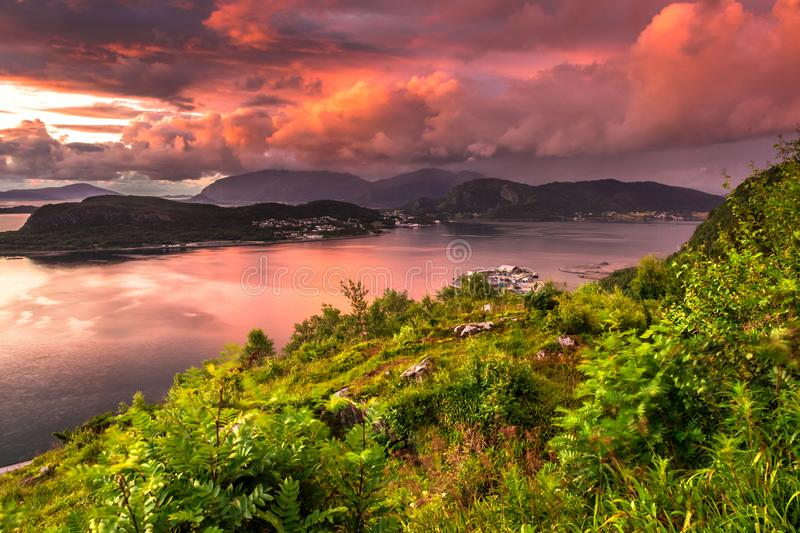 Dramatic Sunset in Alesund. Image of dramatic sunset taken from Mount Aksla Viewpoint in Alesund, More og Romsdal County, Norway royalty free stock image