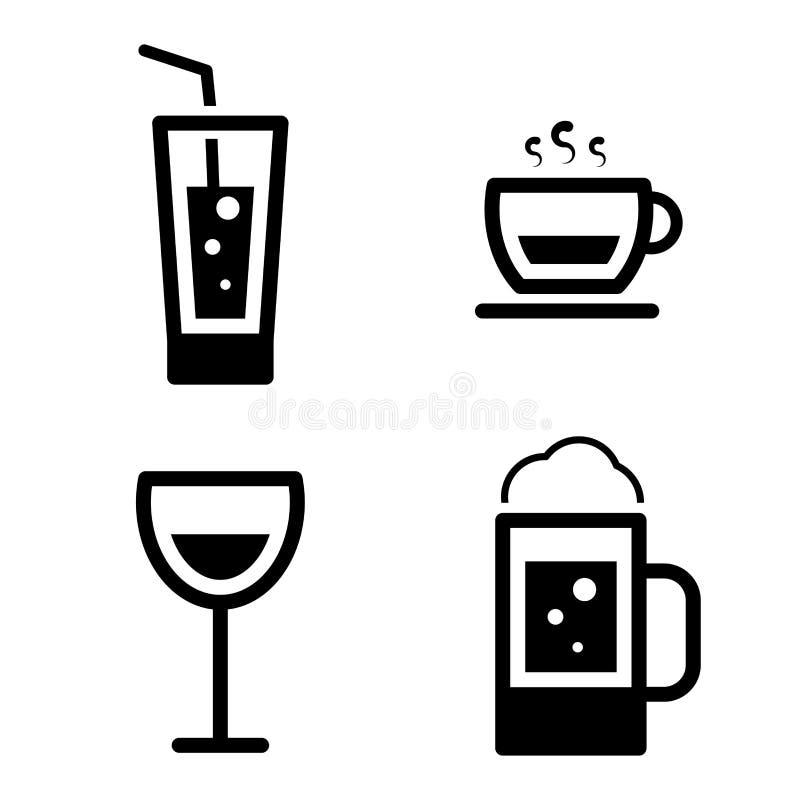 Image of Drinks icons set isolated on white background royalty free illustration