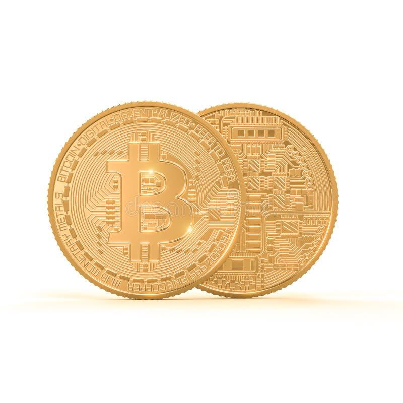 image du rendu 3d de pièce de monnaie d'or de bitcoin sur le fond blanc illustration libre de droits