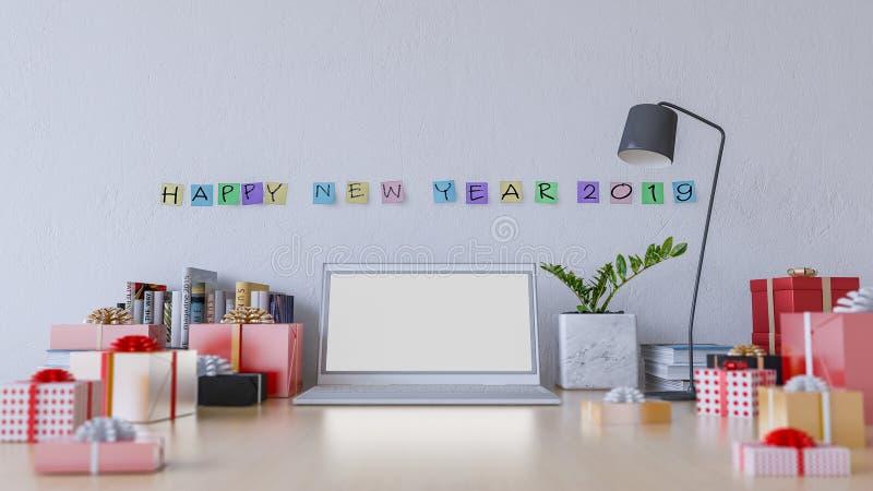 image du rendu 3d de table de fonctionnement dans le jour de la nouvelle année 2019 illustration libre de droits