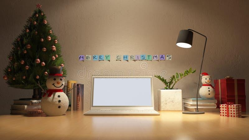 image du rendu 3d de table de fonctionnement dans le jour de Noël illustration de vecteur