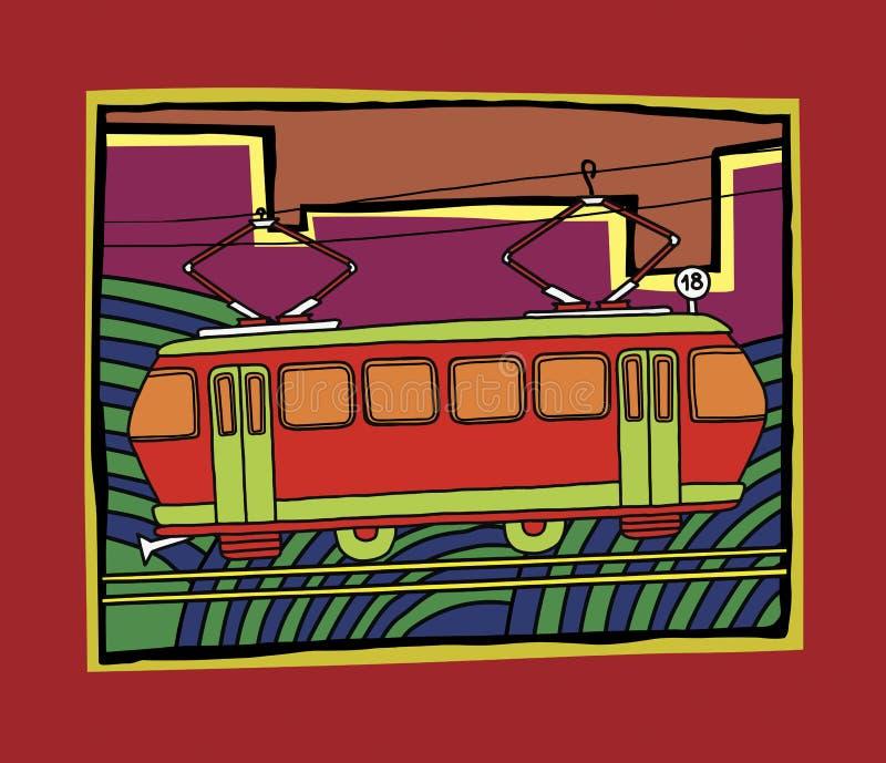 Image du vieux tram rouge numéro 18 sur le fond décoratif ornemental illustration stock