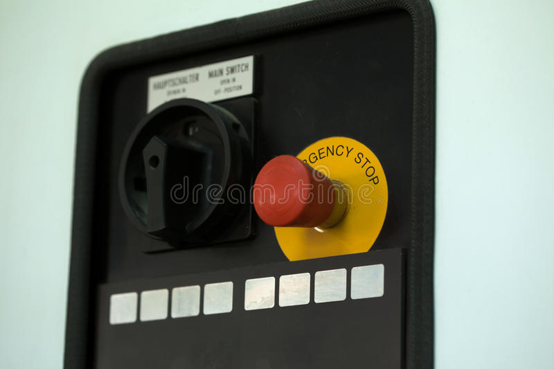 Image of emergency stop lever, close-up stock photos