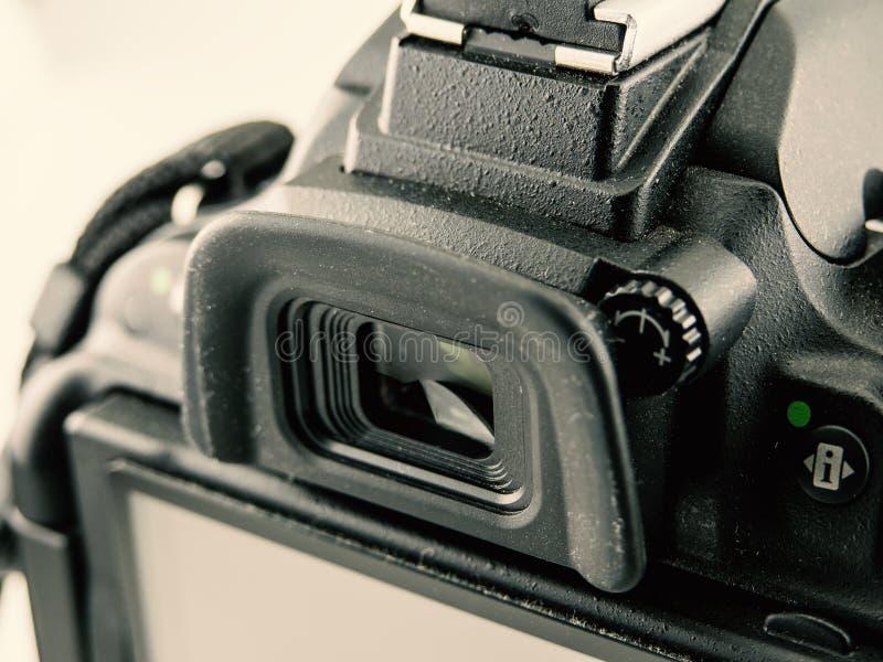 Image en gros plan de caméra de DSLR viseur en gros plan images libres de droits