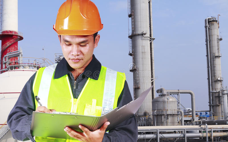 Image of engineer oil refinery stock photography