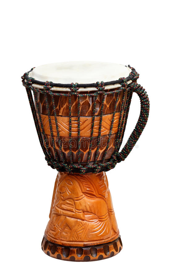 The image of ethnic african drum. Isolated on white background stock photo