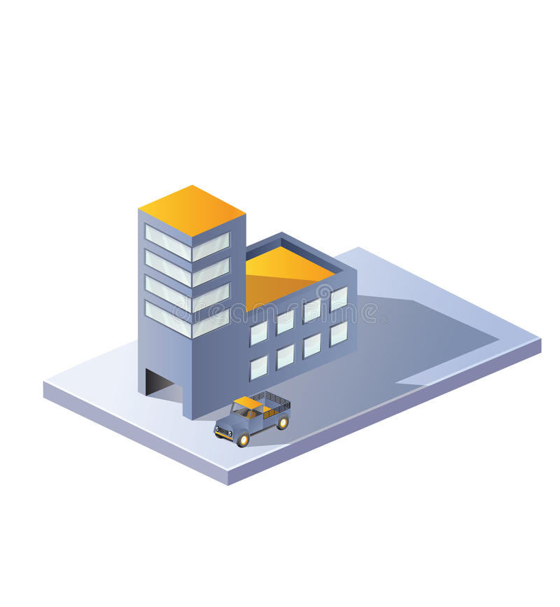 Image factory in isometric. Projection on a white background stock illustration