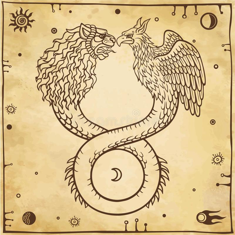 Image of fantastic animal ouroboros with a body of a snake and two heads of a lion and a bird. Symbols of the moon and sun. Background - imitation of old paper stock illustration