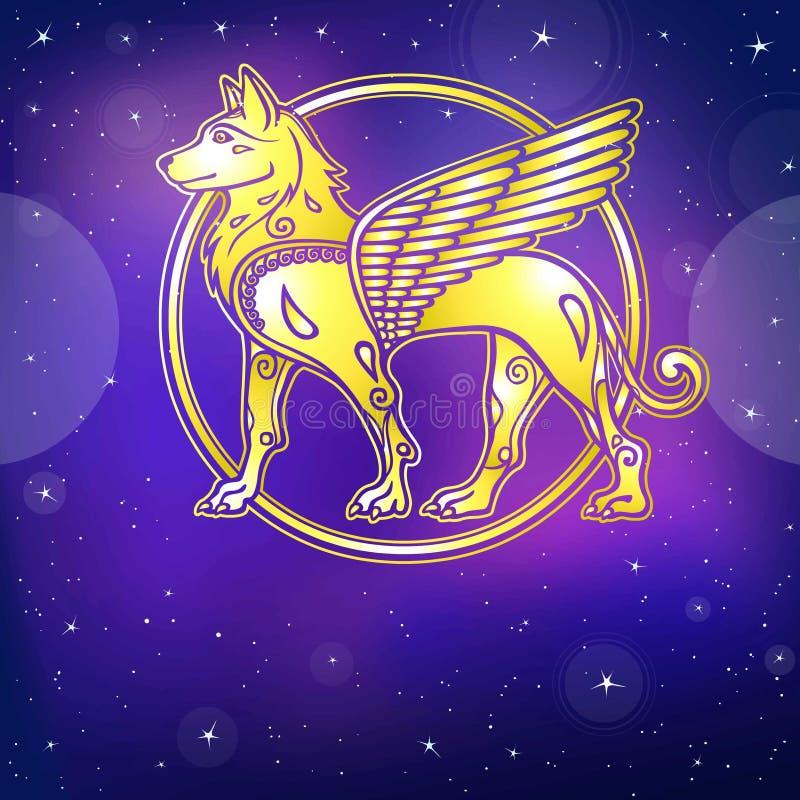 Image fantastique d'un chien à ailes, caractère mythologique, symbole de zodiaque de nouvelle année illustration libre de droits