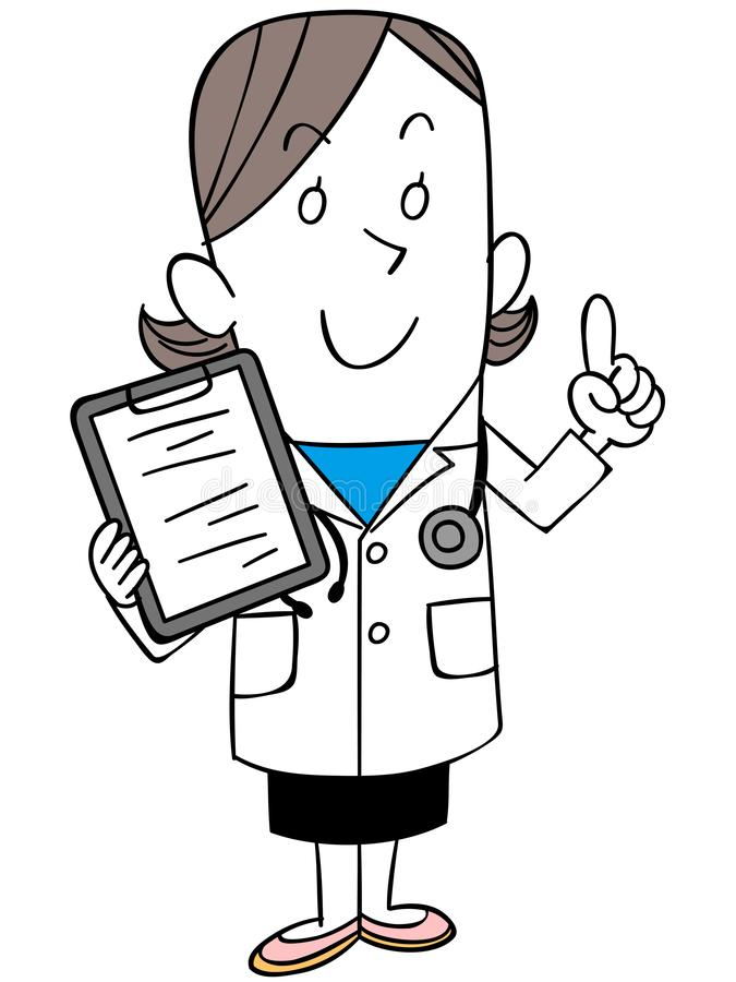 Female doctor with medical record vector illustration