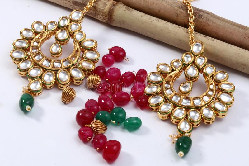 A image of a female jewelry chain with stones,For girl wear earring. stock images