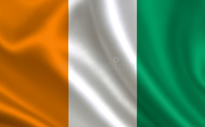 Image of the flag of Cote D`Ivoire. Series `Africa` vector illustration