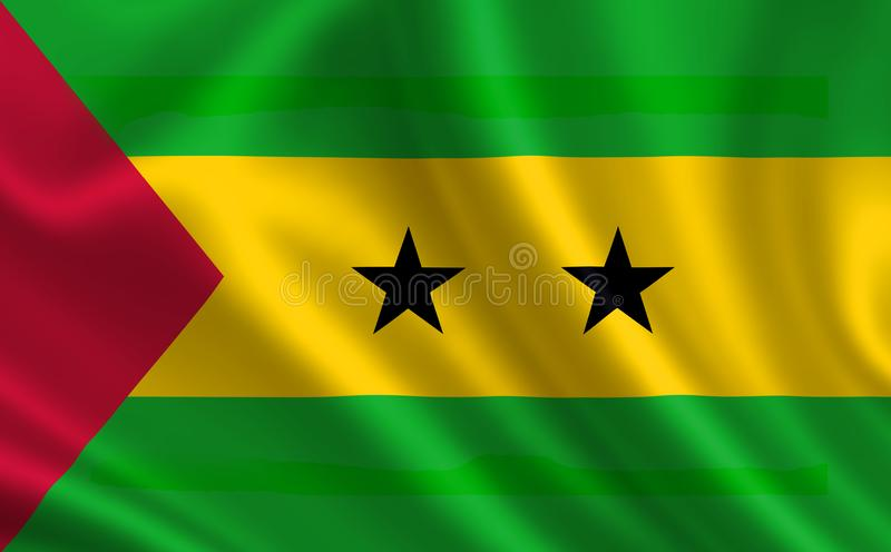 Image of the flag Sao Tome and Principe. Series `Africa` royalty free illustration