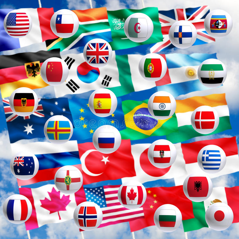 Image of flags of countries closeup. Image of flags of countries close up stock illustration