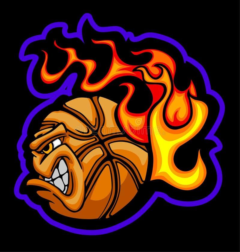 Image flamboyante de vecteur de visage de bille de basket-ball illustration stock