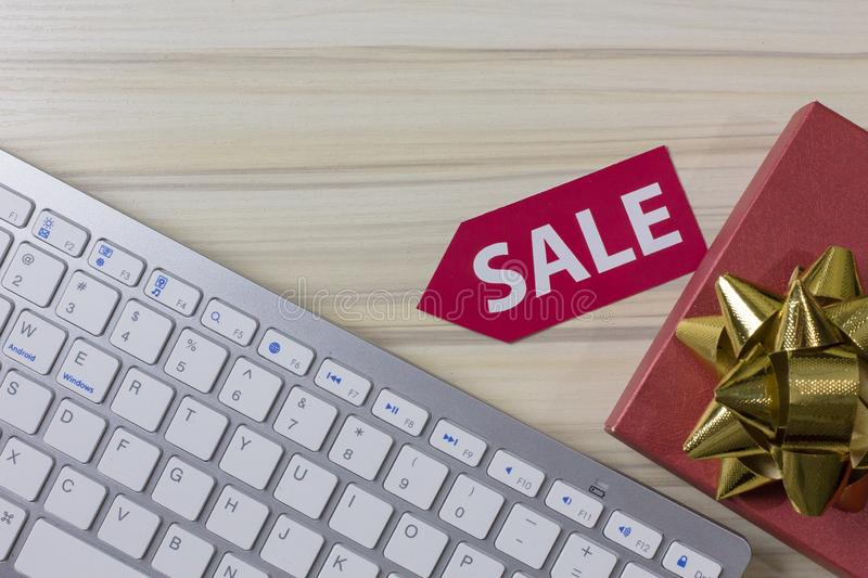 Image flat lay concept cyber Monday sale background. royalty free stock photography