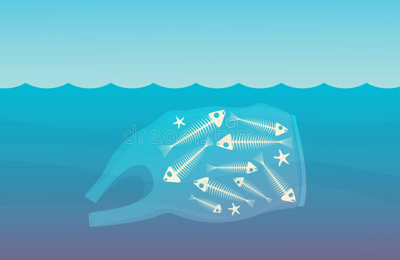 The image floating on water plastic bag and fish skeletons inside. vector illustration