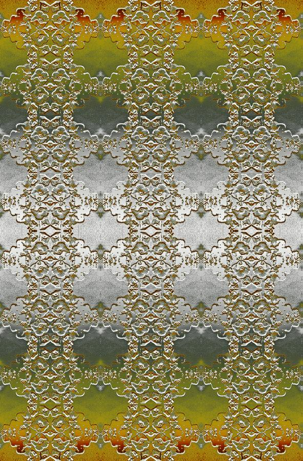 YELLOW AND SILVER GRADIENT LACY PATTERN. Image of a floral lacy pattern in bas-relief with a silver and gold metallic finish with amber edging royalty free stock photography