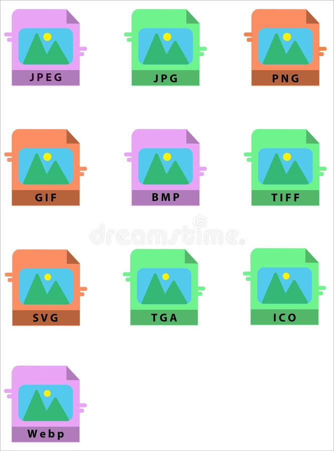 Vector Image Format Icon Set Design Flat Style vector illustration
