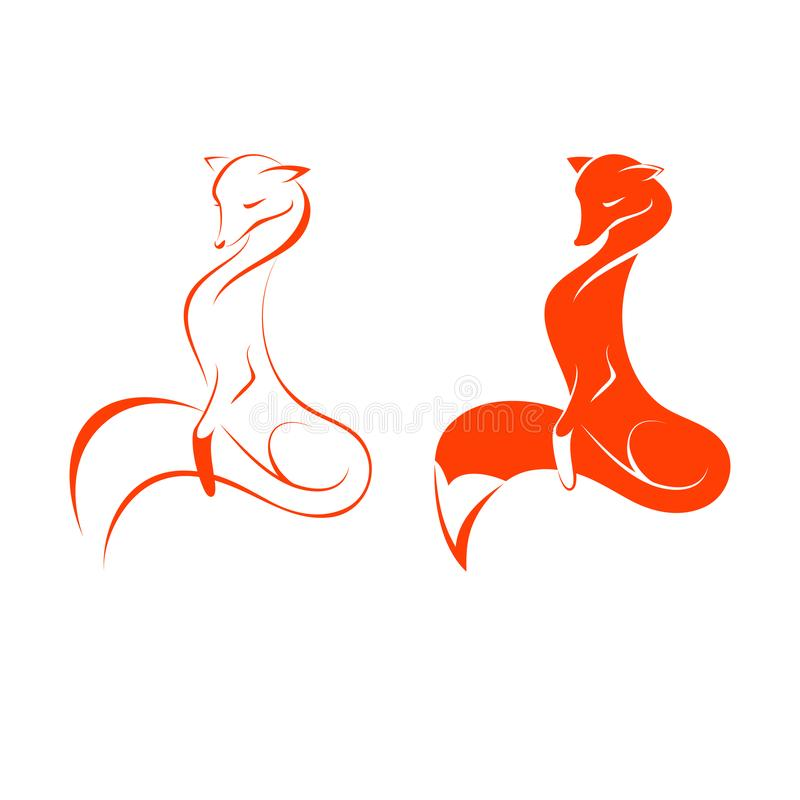 Image of a fox on white background, two variants, vector illustration royalty free illustration