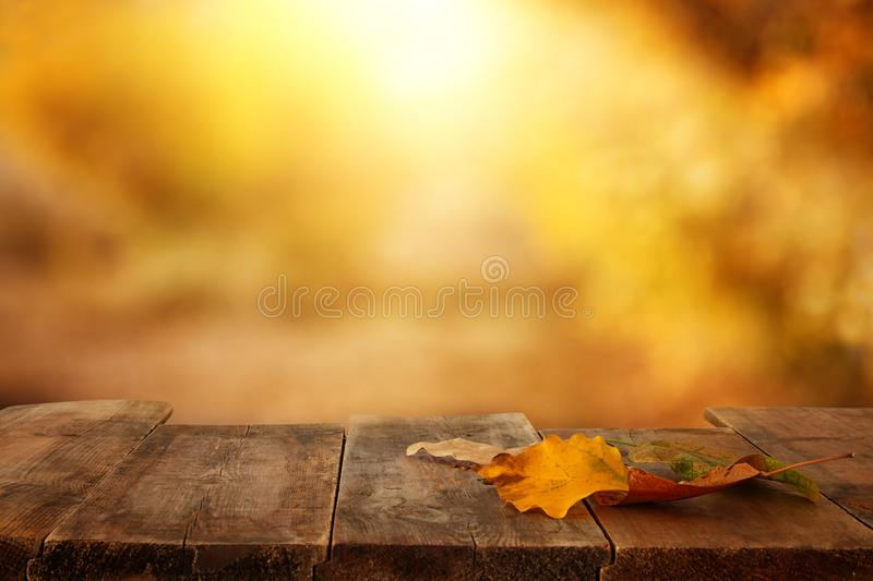 image of front rustic wood table with dry gold leaves and fall bokeh background. royalty free stock photos