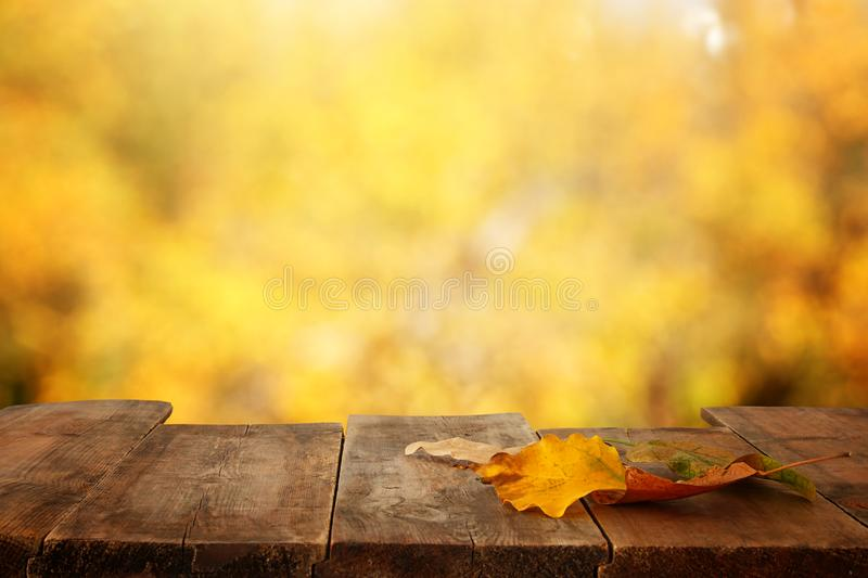 Image of front rustic wood table with dry gold leaves and fall bokeh background. Image of front rustic wood table with dry gold leaves and fall bokeh background stock images