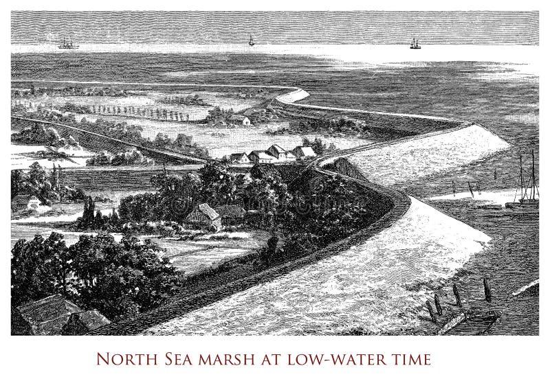 Image géographique de cru, marais de la Mer du Nord photographie stock libre de droits