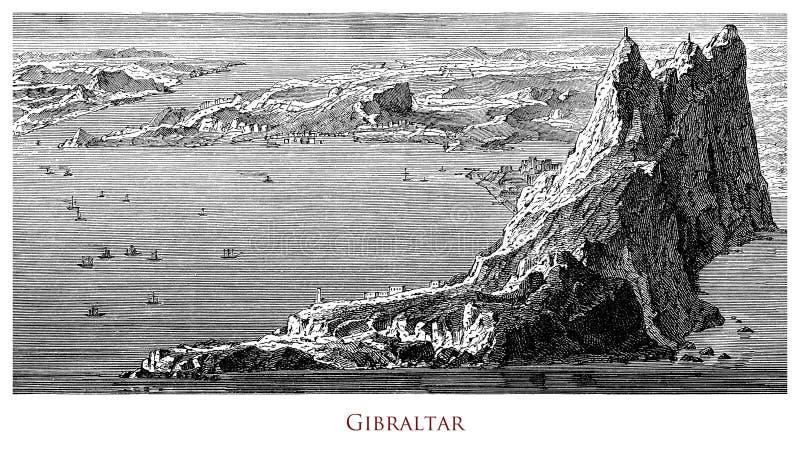Image géographique de cru, roche du Gibraltar images stock