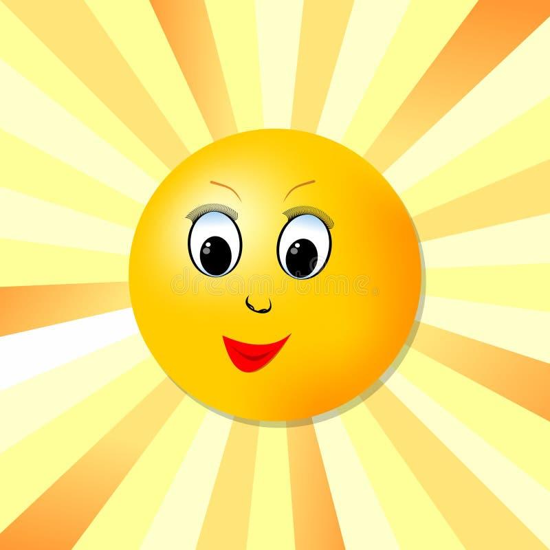Image gaie du soleil avec le visage pour la joie de la vie illustration stock