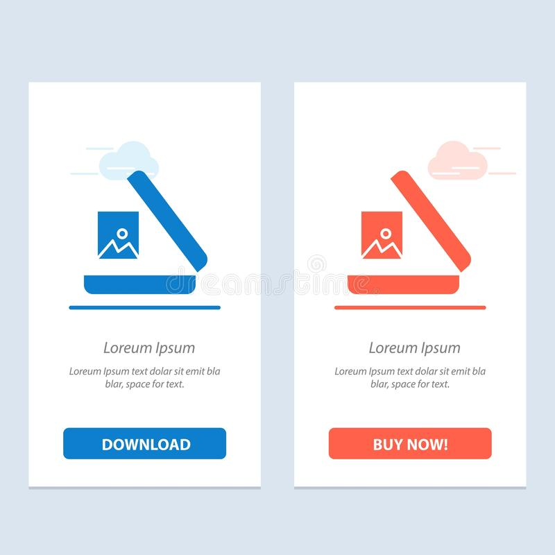 Image, Gallery, Picture  Blue and Red Download and Buy Now web Widget Card Template vector illustration