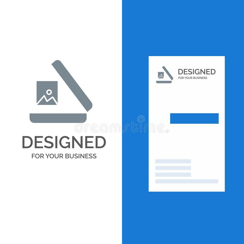 Image, Gallery, Picture Grey Logo Design and Business Card Template stock illustration