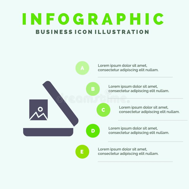Image, Gallery, Picture Solid Icon Infographics 5 Steps Presentation Background royalty free illustration