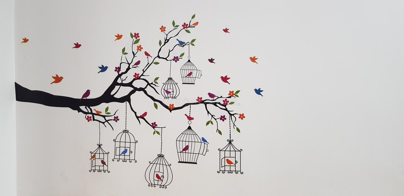 Image gentille avec des oiseaux images libres de droits