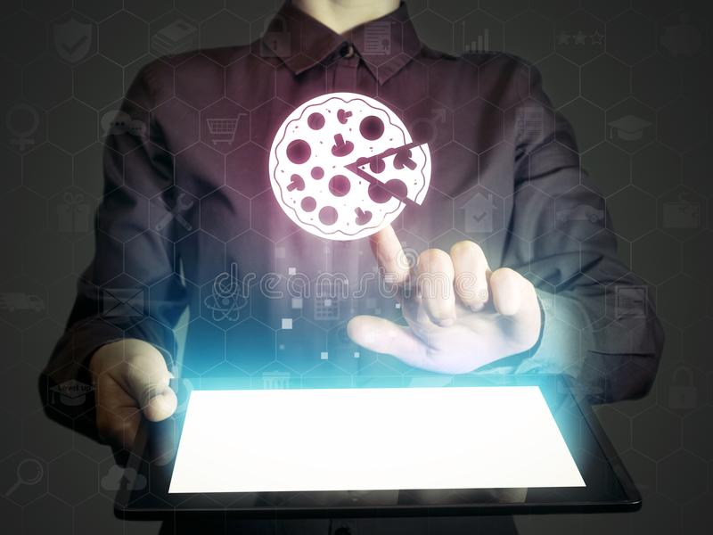 Search and online order pizza. royalty free stock photos
