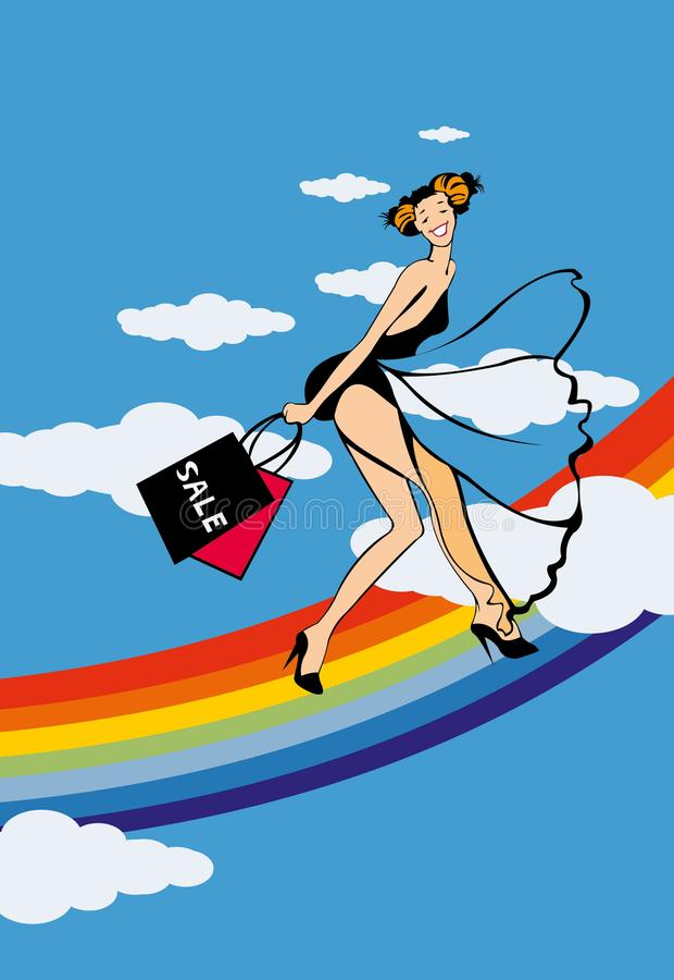 Glad girl on raibow. Image of glad girl on rainbow after shopping vector illustration