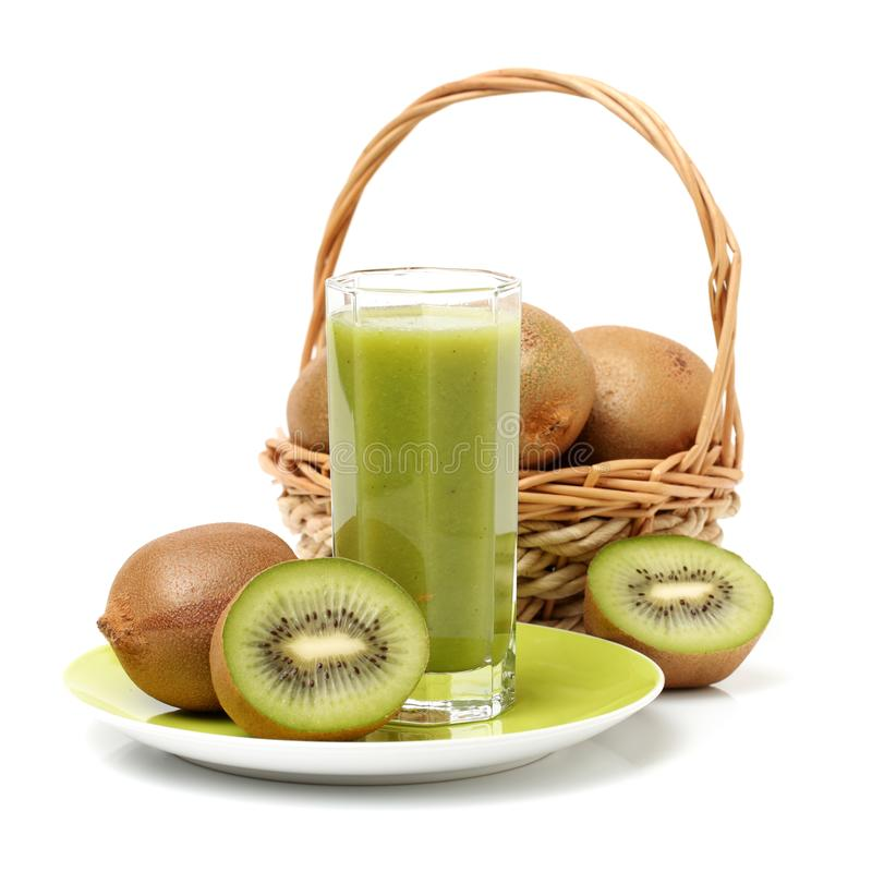 Image a glass of kiwi juice and fruits royalty free stock photo